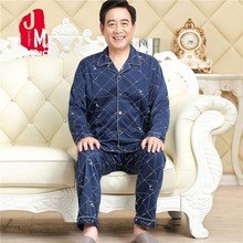 купить Sleep Autumn Spring Male Pajama Set Cotton Pajama Man Suit Turn-down Collar Solid Pyjama Men Full Sleeve Striped Pijama Men XXXL по цене 564.46 рублей
