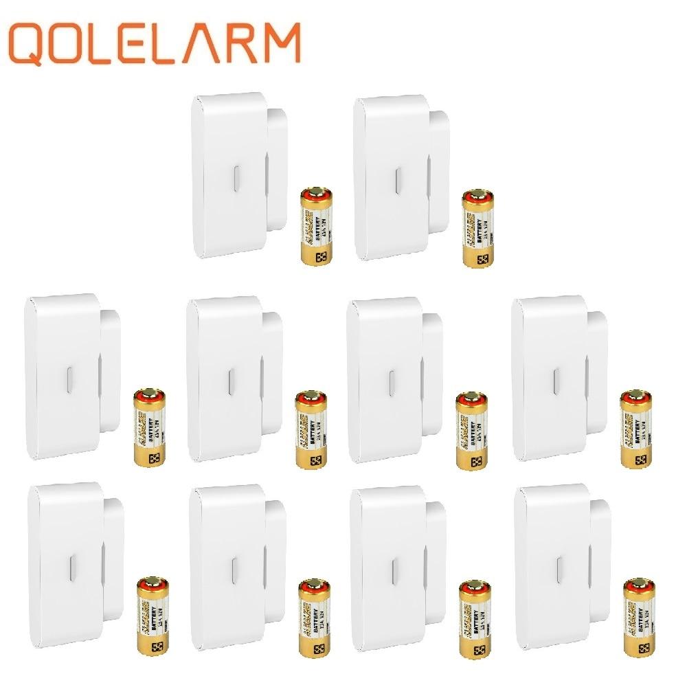 Qolelarm 4/10pcs each lot aliexpress free shipping door window alarm wireless 433mhz contact magnetical door sensor alarm home(China)