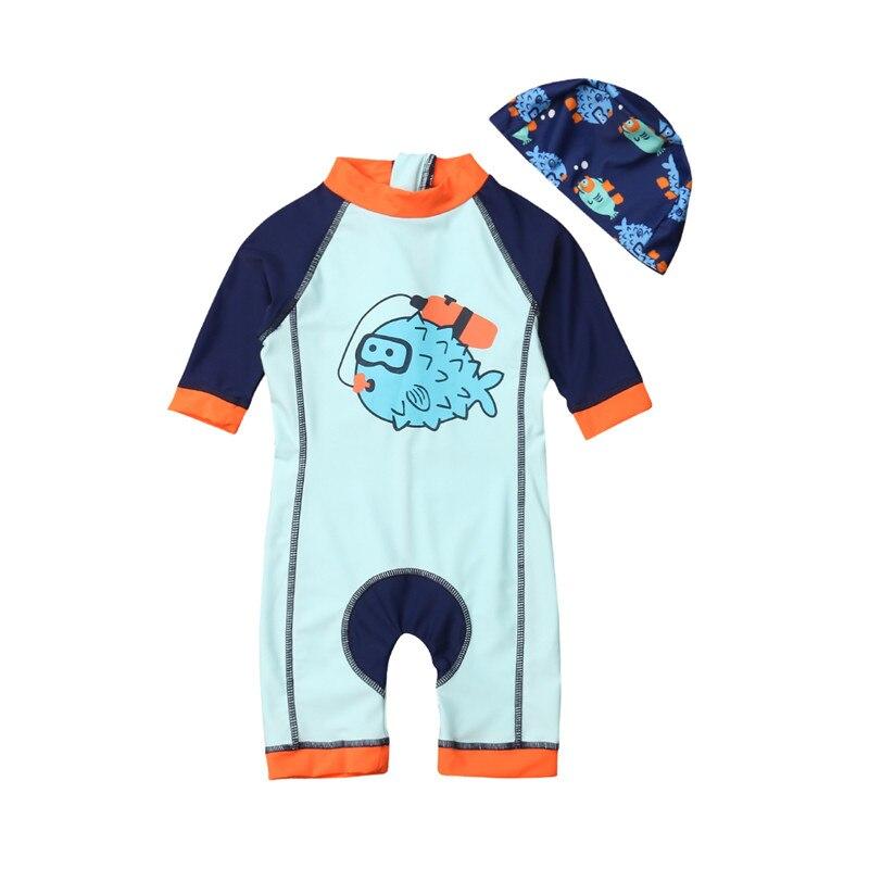Loyaal 2019 Nieuwe Leuke Cartoon Jongens Zwemmen Biquinis Zomer Sportwear Peuter Kids 1-6 T Lange Mouw Beachwear Jumpsuits Met Caps