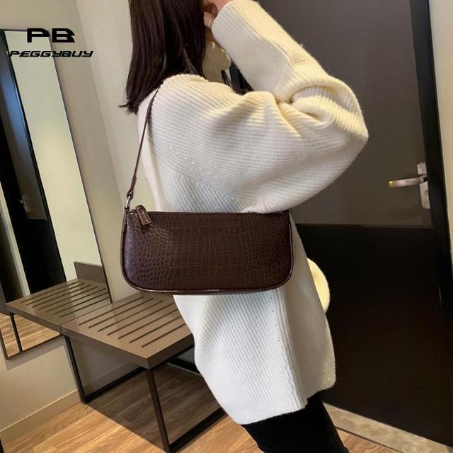 Vintage women leather handbags Retro Shoulder Bag Casual Solid Women Messenger Bags for women 2019 Split Retro Crocodile Bolsas