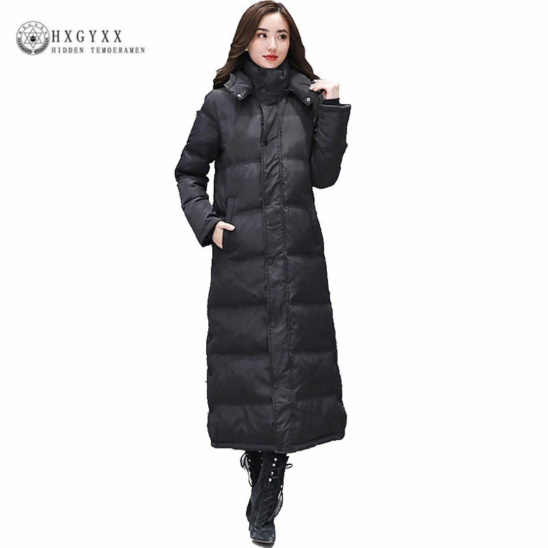 8b41737466c03 Detail Feedback Questions about Black Goose Feather Coat Long Winter Puffer  Jacket Women Duck Down Parka Thick Warm Slim Hooded Outerwear 2019 Plus Size  ...