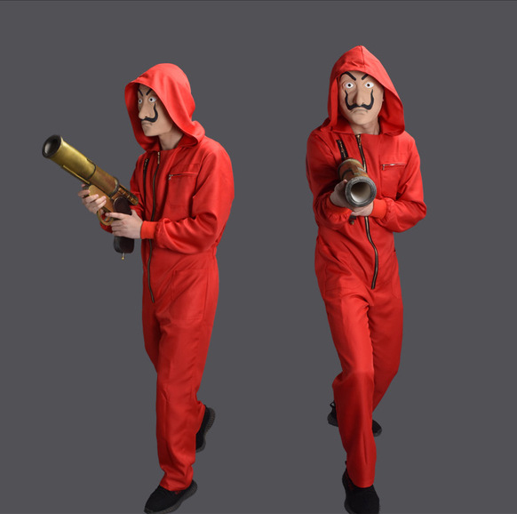 La Casa De Papel Costume The House Of Paper Cosplay Halloween Money Heist Waist Stretch Jumpsuits Salvador Dali Fancy Dress