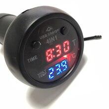 4 в 1 прикуриватель измеритель напряжения светодиодный цифровой термометр автомобильное зарядное устройство часы Четыре в одном USB зарядное устройство для мобильного телефона