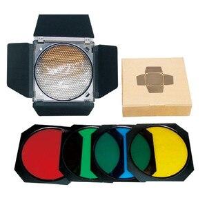 Image 5 - Godox BD 04 porta do celeiro + grade favo de mel + 4 filtro cor vermelho/azul/verde/amarelo para bowen montagem refletor padrão flash acessórios