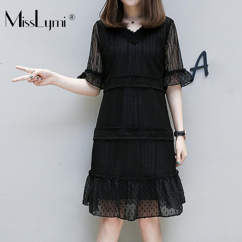 XL-5XL Plus Size Women Lace Dress Summer 2019 Sexy V-neck Short Sleeve Patchwork Polka Dot Ruffle Knee Length Dresses Black