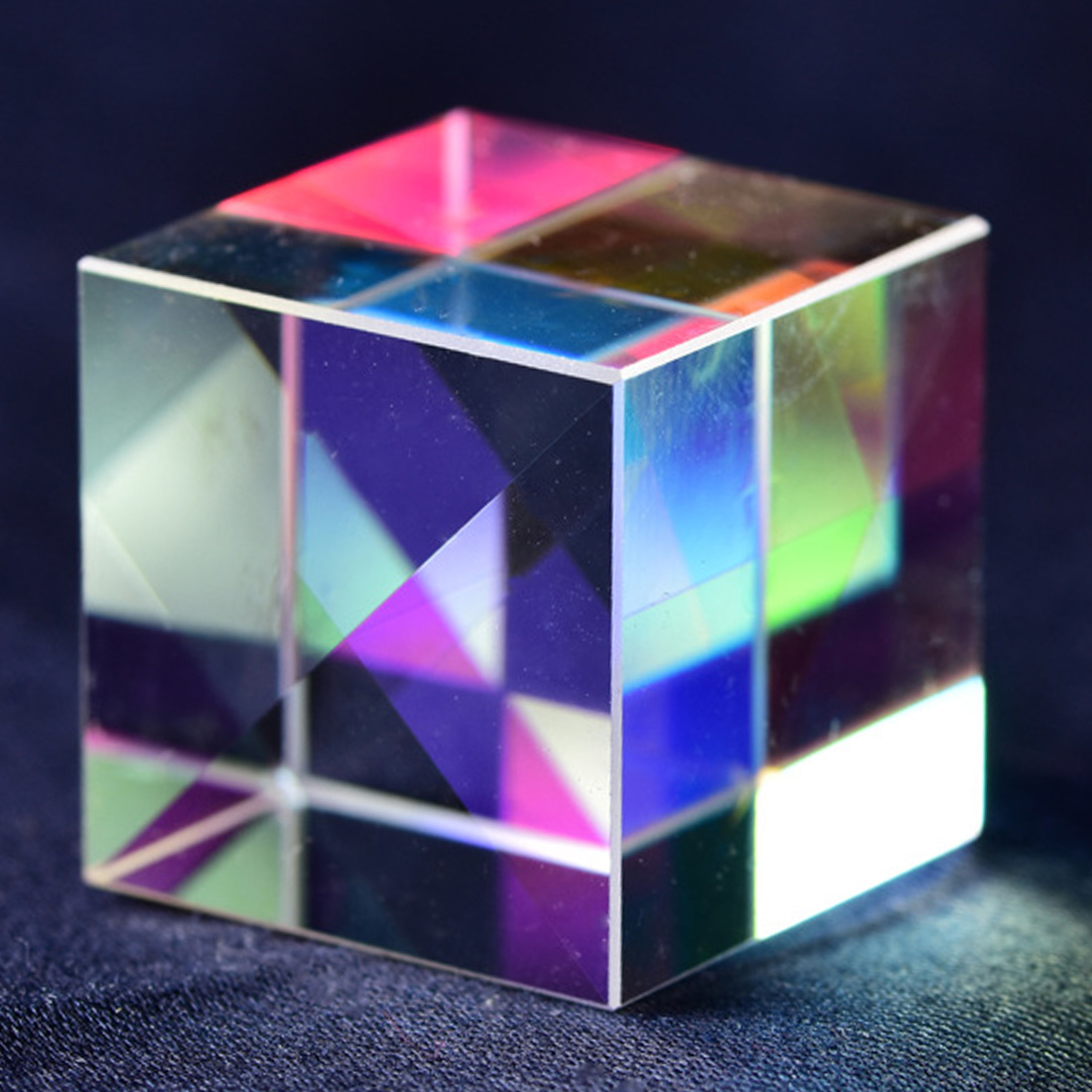K9 Cube Prism Defective Cross Dichroic Mirror Combiner Splitter Decor Transparent Module Optical Glass Toy 18*18mm