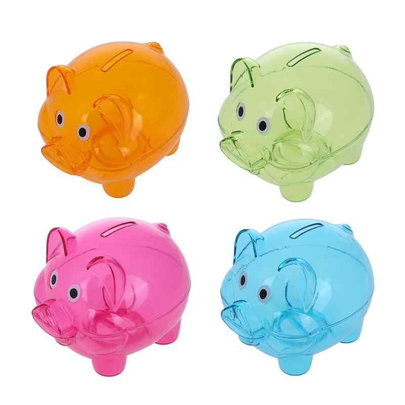 Transparente Piggy Bank Money Saving Box Caso de Moedas Em Forma de Porco Dos Desenhos Animados Piggy Bank Coin Box Crianças Presente Plástico Economizar Dinheiro caixa