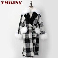 YMOJNV New Elegant Plaid Women Winter Fur Coat Long Tweed Wool Jacket Iceland Fur Collar Real Lamb Fur Liner Coats manteau femme
