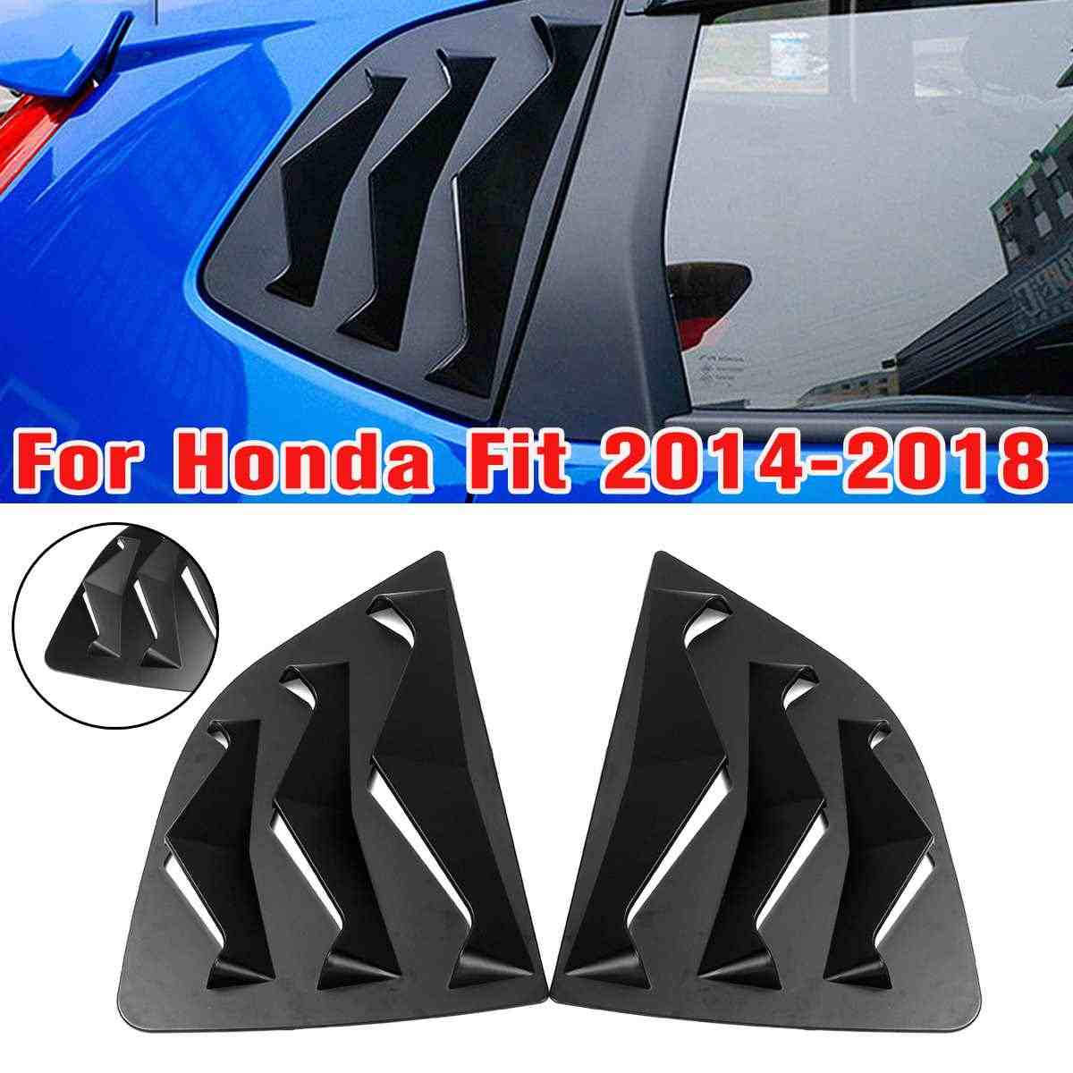 Matte Black Rear Quarter Side Vent Window Louver For Honda Fit 2014-2018 Louvers Scoop Cover Car Styling Sticker