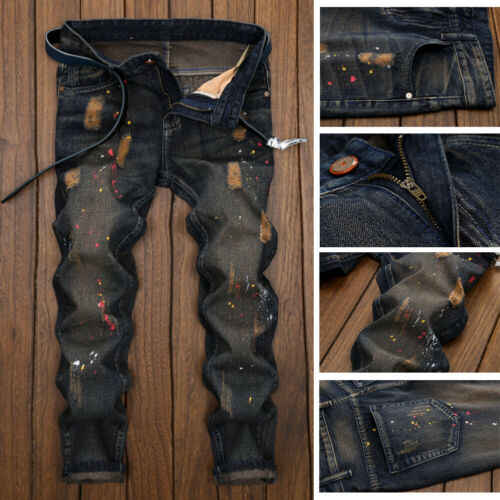 Uomini di Modo Skinny Denim Jeans Distressed Strappato Sfilacciati Fori Distrutti Pantaloni Del Progettista Pantaloni Sottili