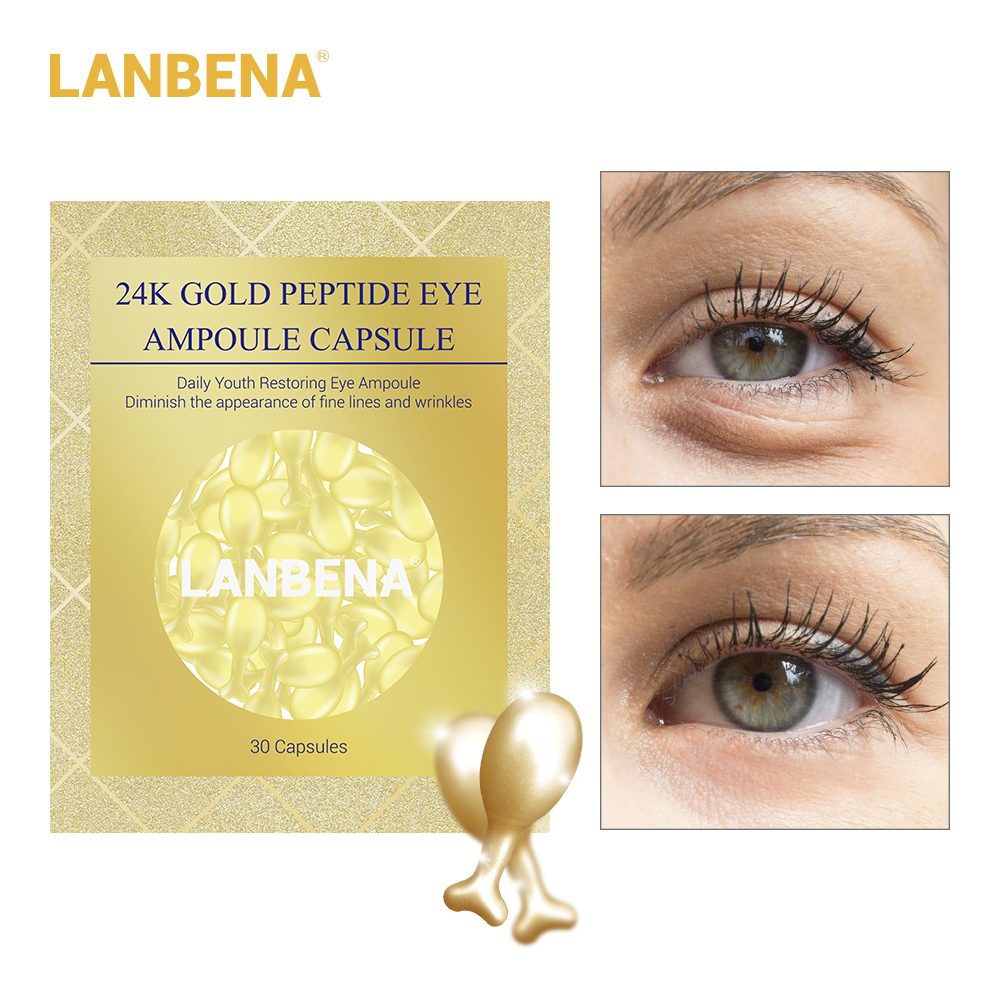 Lanbena 24k Gold Peptide Wrinkles Eye Ampoule Capsule Eye Serum Anti aging Fine Lines Dark Circle Eye Patches Eye Cream 30 Grain