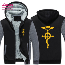 2018 New USA SIZE Mens Jackets Fullmetal Alchemist Hoodies Men Winter Long sleeve Cotton Zipper Coat Hoody Jacket Plus Size