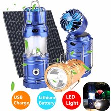 Multifungsi 6 LED Solar Powered Fan Camping Lampu Dilipat LED Lantern Outdoor Isi Ulang Portabel Tenda Pencahayaan Gantung(China)