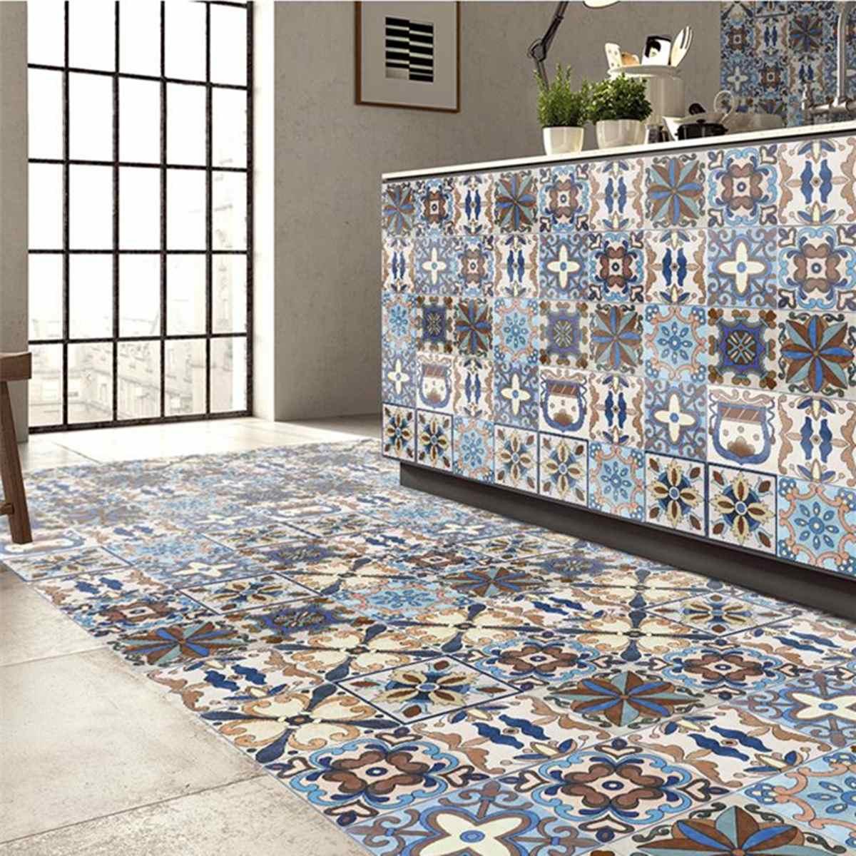 5M PVC Self Adhesive Tiles Floor Wall Stickers Mosaics Art Decal Waterproof Kitchen Home Room DIY Decoration Flowers Murals