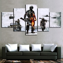 5 Piece Fantasy Shooting Game Poster Battlefield HD Wall Picture Canvas Art for Living Room Decor