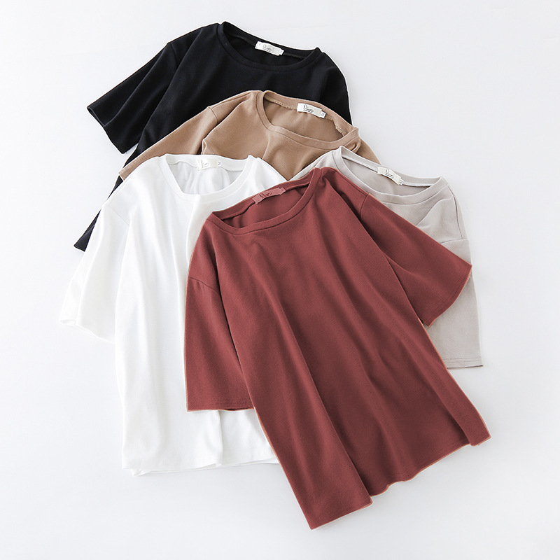 2019 Spring Summer Korean Women's Vogue Basic T-shirt Short Sleeve Solid Color Ulzzang Tees Oversize Streetwear Female Sexy Top