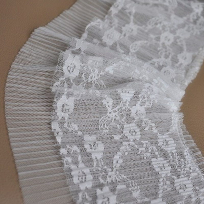 17cm Wide Good Quality White Mesh Sequin Fabric Pleated Texture Tulle Lace Skirt Cuffs DIY Dress Edge Wedding Decoration in Lace from Home Garden
