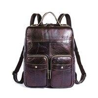 2019 Ретро Натуральная мужской кожаный рюкзак бизнес сумка для ноутбука Mochila Masculina Прохладный Sac Dos Kanken