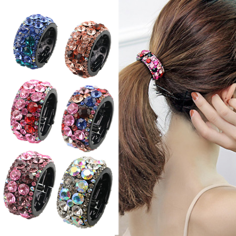 Fashion 1PC Crystal Circle Hair Clips Round Hair Ponytail Ring Small Big Buckle Holder Plastic Hairpin Women Accessories Korea