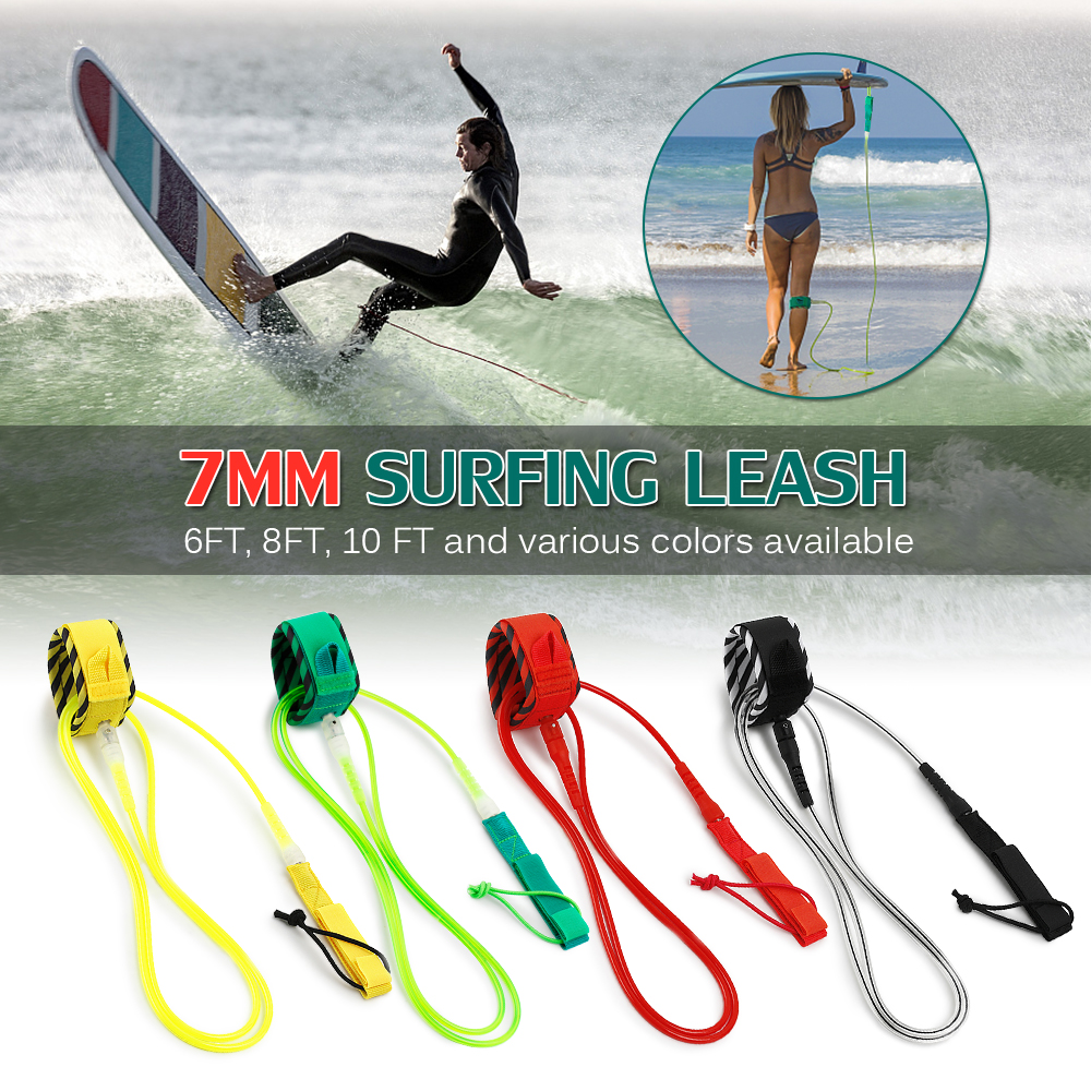 High Quality Paddle Leash Surf Leash  Surfboard Leash Smooth Steel Swivel Surfing Leg Rope Smooth Steel Paddle Board Leash 6FT
