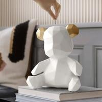 Resin Teddy Bear Figurines Creative Money Box Gift Wedding Storage Box Money For Children Coins Holders Box Kids Toy Coin Bank