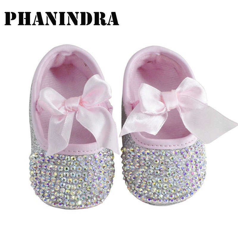 2019 princess rhinestone pink newborn baby Shoes handmade baby toddler bling  bling shoes lovely fashion bow 64793e866e82