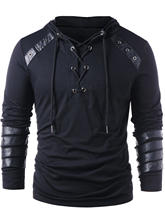 2a940ce7a Kenancy Brand Designer Men Lace Up Faux Leather Hoodies Solid Long Sleeves Casual  Sweatshirts Gothic Autumn Male Pullovers Tops
