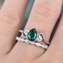 Huitan 2PC Wedding Ring Set With Green Cubic Zircon Prong Setting Engagement Wedding Ring For Women Classic Jewelry Wholesale