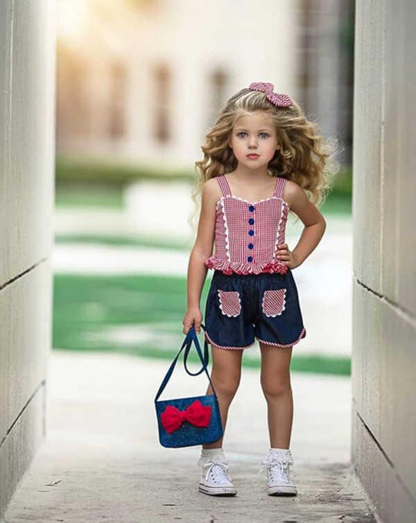 Pudcoco nowa marka maluch dziewczynek Plaid kamizelka Crop topy szorty z pałąkiem na głowę stroje odzież 3 sztuk
