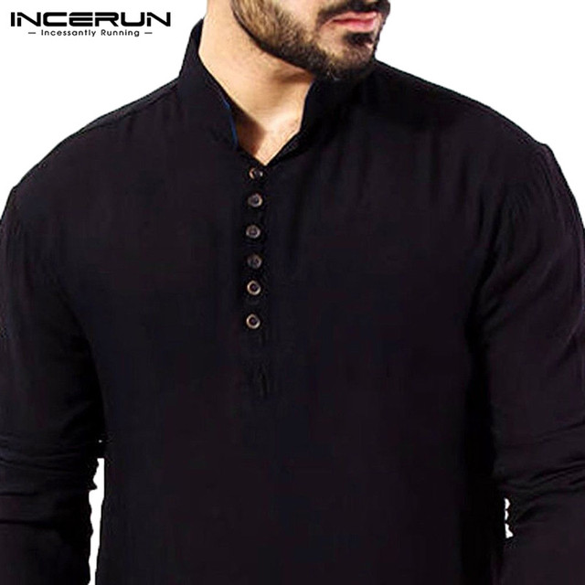 INCERUN Casual Men Shirt Cotton Long Sleeve Stand Collar Vintage Solid Stitched Long Tops Indian Kurta Suit Pakistani Shirt 5XL 3