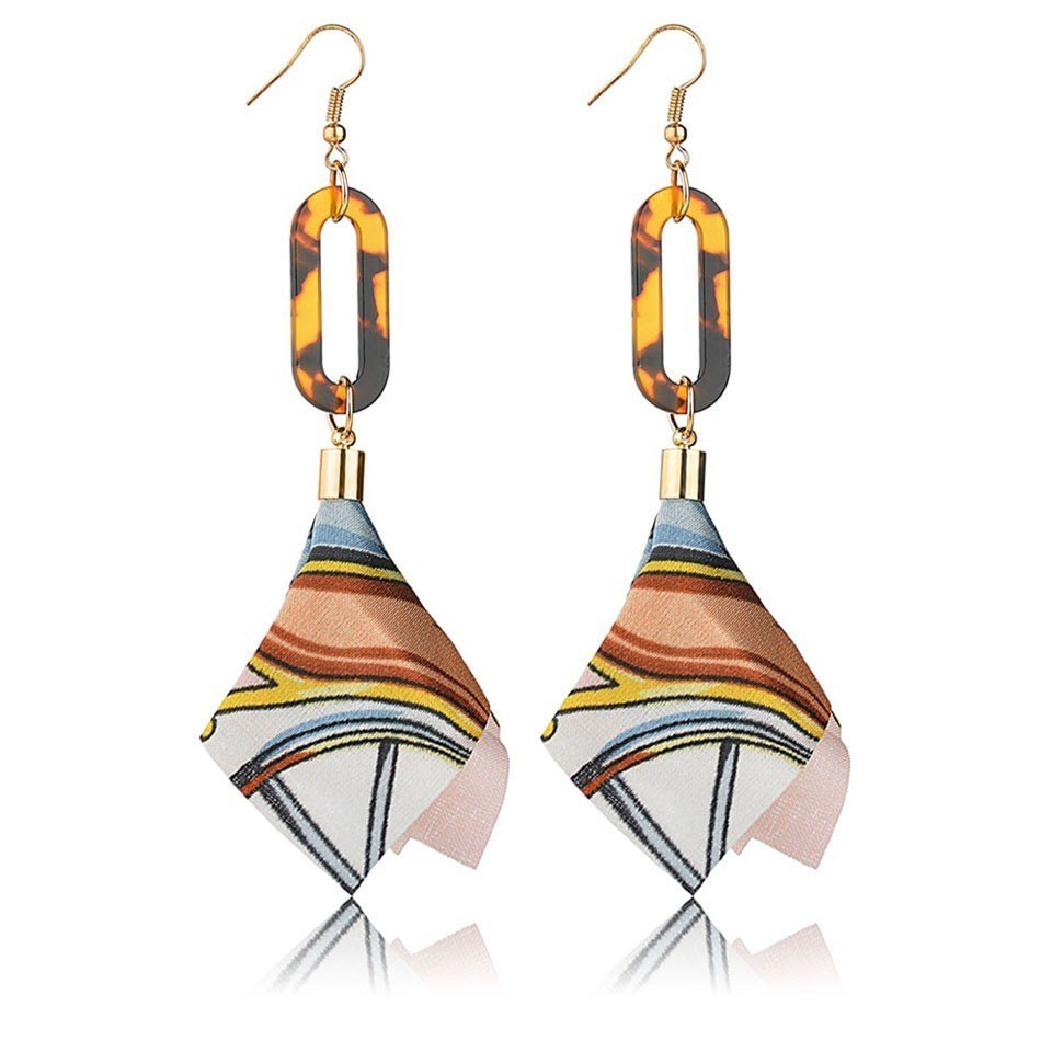 Coloré femmes hiver boucles d'oreilles en alliage et tissu boucles d'oreilles femme mode bijoux pour femmes boucles d'oreilles bijoux de mariage 3