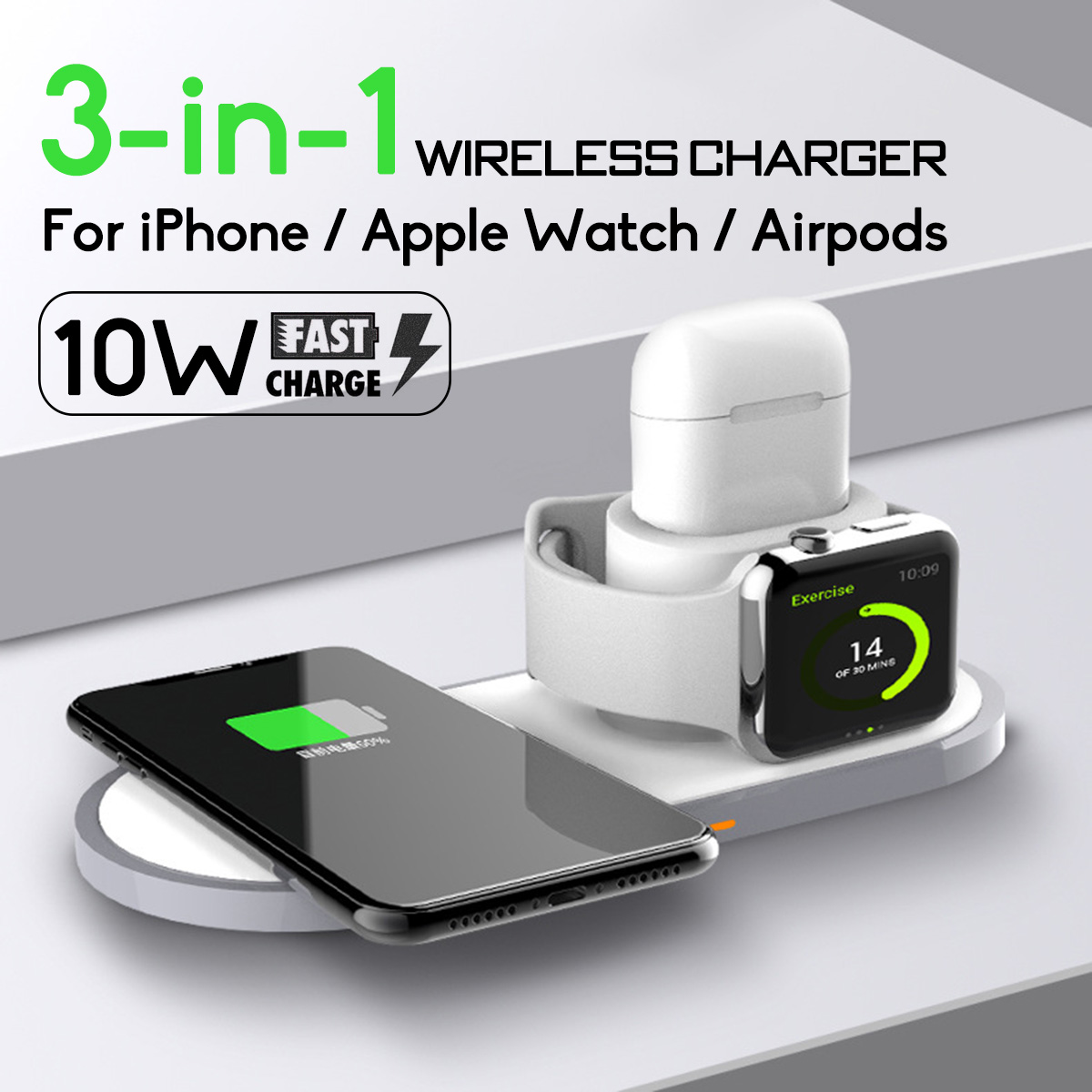 10W 3 In 1 Qi Wireless Charger Pad for AirPods Fast Charging Dock for IPhone XR XS Max for Apple Watch 2 3 4 for Samsung S9 S10e10W 3 In 1 Qi Wireless Charger Pad for AirPods Fast Charging Dock for IPhone XR XS Max for Apple Watch 2 3 4 for Samsung S9 S10e