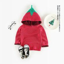 3be5616df4c3 Camisola Da Menina do Algodão do bebê Outono Novos Meninos Meninas  Camisolas Com Capuz Bonito Crianças Morango Pullover Knitt de.