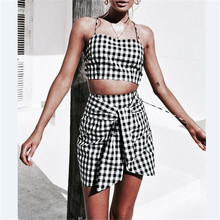 421ed7812cf6 Fashion Women checkerboard 2 Piece Set Bodycon Skirt Crop Top off shoulder  Tank Summer two piece