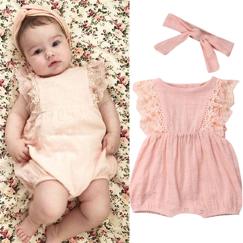 29db60fb85e7 Newborn Baby Girls Ruffle Sleeveless Romper 2019 Summer Baby Girl Lace  Patchwork Jumpsuit+Headband 2Pcs