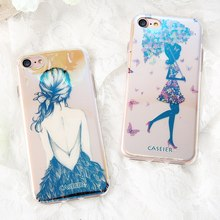 CASEIER Luxury Patterned Phone Case For iPhone 7 Plus Soft Silicone TPU Cases 8 Blue-Ray Sky Capinha Funda Capa
