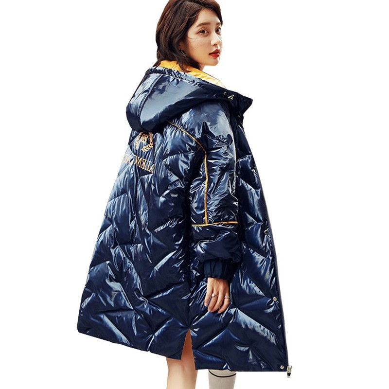 Bright Warm 90% White Duck Down Coat Women Winter Hooded Blue Feather Jacket Parka 2019 Fashion Large Size Loose Outerwear PL22