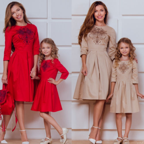 Winter Christmas Mother Daughter Party Dress Long Sleeve Xmas Family Matching Outfits Clothes