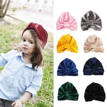 9 Colors Velvet Baby Hat for Girl Boy Autumn Winter Turban Cap Photography Props Elastic Infant Beanie Accessories