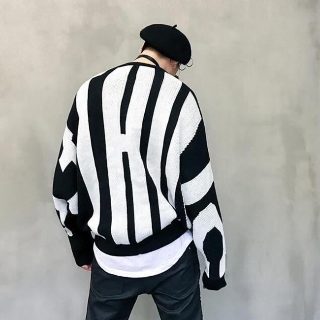 #8001 Verstärktes Farbe Schwarz/weiß Gestrickte Pullover Flügel-hülse Hip Hop Pullover Männer Lose Übergroßen Herbst Winter Gestreiften Pullover