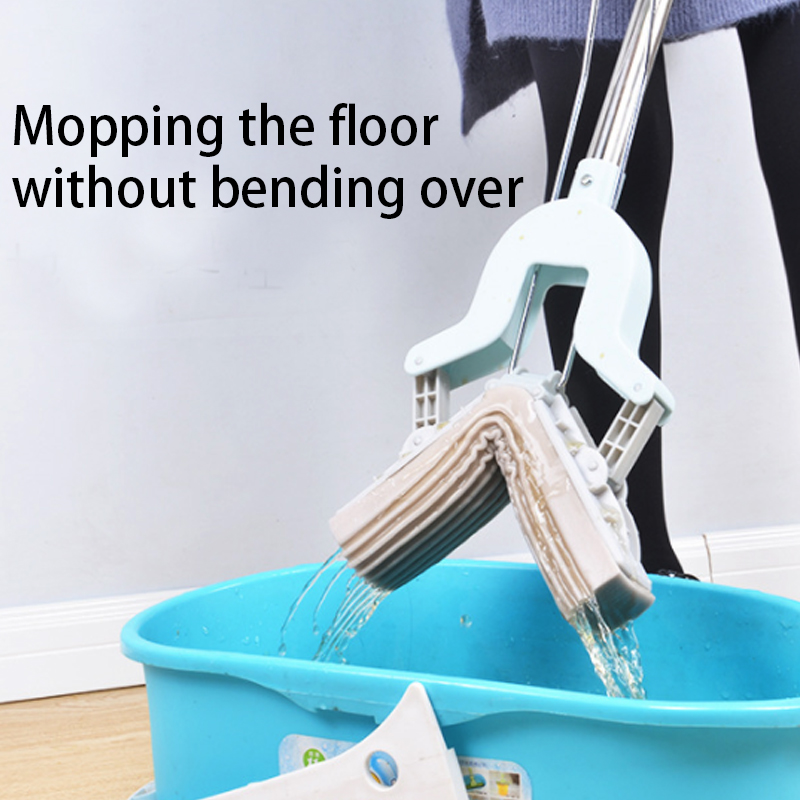 Telescopic Handle Absorbent Sponge Mop Folding Type Avoid Hand Washing Cleaning Mop Home Floor Cleaning Tool Stainless Steel in Mops from Home Garden