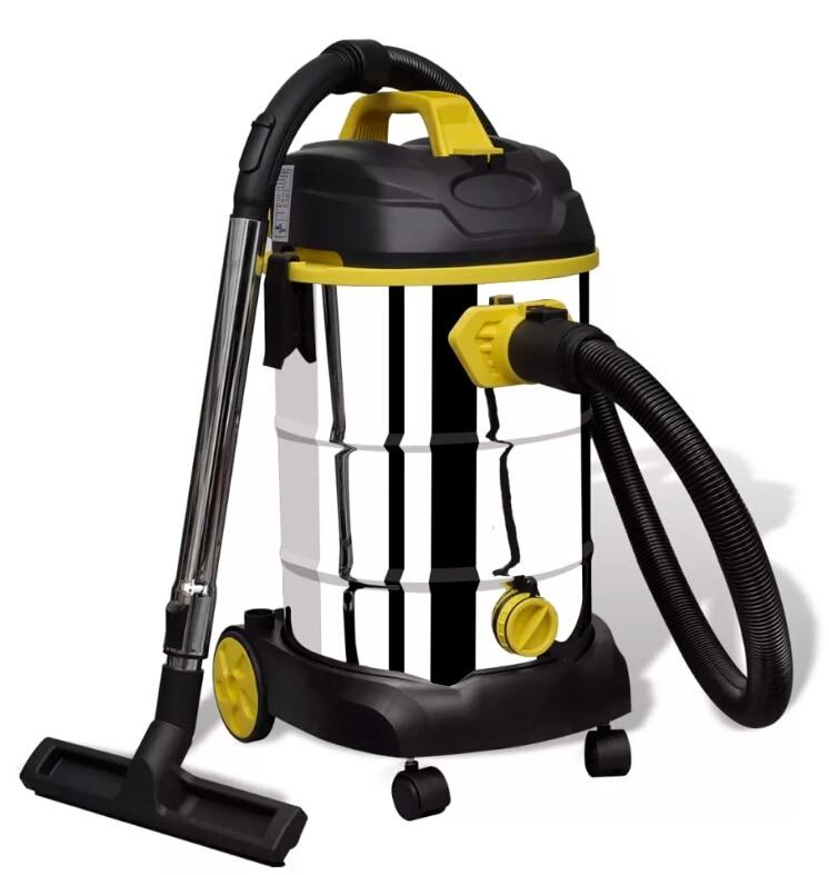 VidaXL aspirateur à eau et à poussière avec réservoir en acier inoxydable de grande capacité dépoussiéreur portatif outils de nettoyage ménager