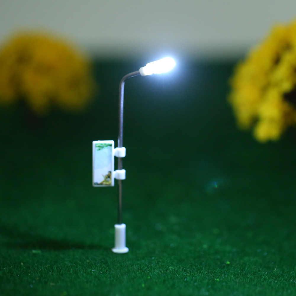 Nowy 75mm 20 sztuk Model biały światła uliczne układ latarni pociąg ogród plac zabaw dla dzieci dekoracje lampa Led oświetlenie w skali 1:200