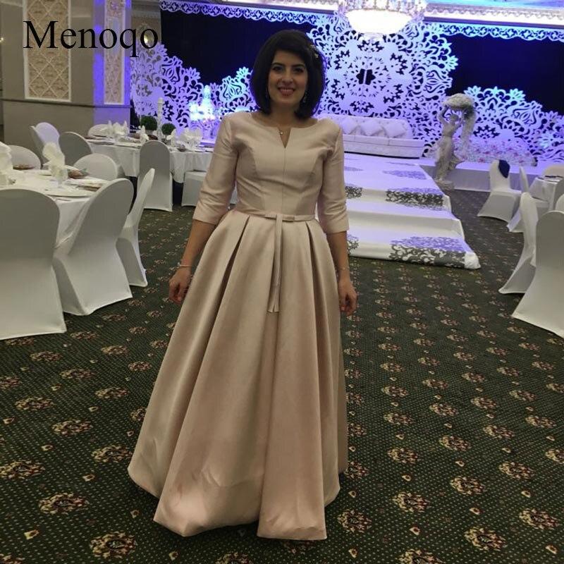 Menoqo nouveauté élégante longue robe de bal robes de soirée formelle satin demi manches musulmane mère de la mariée robes de grande taille