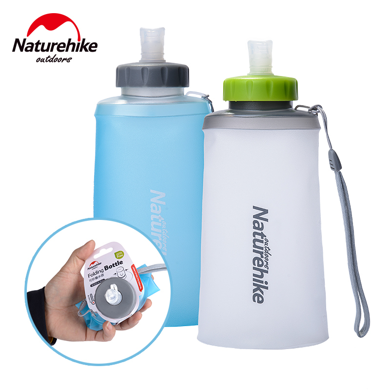 Naturehike 500 750ml Mini Portable Silicone Folding Ultralight Sports Bottle Water Bottles Outdoor Mountaineering Cup NH61A065-B