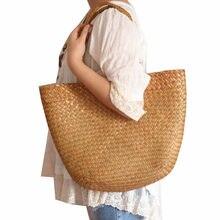 680d5e454c4 Toevallige strozak grote natuurlijke rieten tassen vrouwen grote capaciteit  strand gevlochten handtas voor tuin handgemaakte gew.