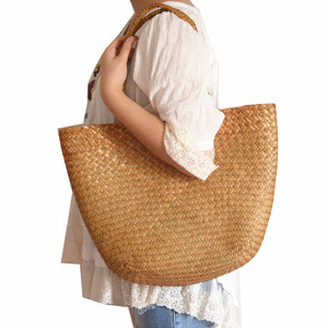 Image 2 - Casual straw bag tote natural wicker bags women large capacity beach braided handbag for garden handmade woven rattan bags