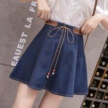 Новое поступление, джинсовая мини-юбка с высокой талией для женщин, летняя коллекция года, а-силуэт, китайский стиль, джинсовая тонкая юбка большого размера, модная синяя юбка для девочек