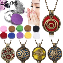 Aromatherapy Necklace Open Locket Bronze Essential Oil Diffuser Perfume Pendant with 5pcs Pads Aroma Necklaces