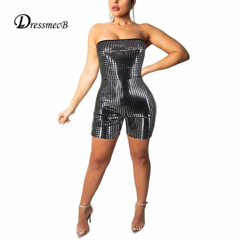 63d5c2cad6 Detail Feedback Questions about DRESSMECB Sequin Strapless Playsuit Off  Shoulder Rompers Women Jumpsuit Sexy Club Autumn Bodycon Short Jumpsuits  For Women ...